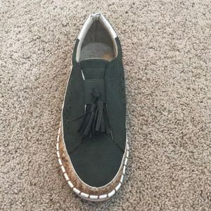 Army green slip on sneakers with tassel